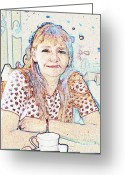 Happy Texas Artist Greeting Cards - Portrait of Janet Greeting Card by Fred Jinkins