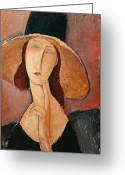 Femme Painting Greeting Cards - Portrait of Jeanne Hebuterne in a large hat Greeting Card by Amedeo Modigliani