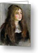 Brown Hair Greeting Cards - Portrait of Julie Manet  Greeting Card by Pierre Auguste Renoir