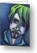 Guitar Pastels Greeting Cards - Portrait of Kurt Greeting Card by Kamil Swiatek