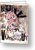 Fun Greeting Cards - Portrait of Kurt Vonnegut Greeting Card by Karl Frey