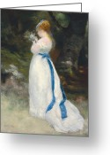 Signed Greeting Cards - Portrait of Lise   Greeting Card by Pierre Auguste Renoir