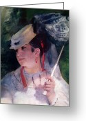 L.a. Woman Greeting Cards - Portrait of Lise Greeting Card by Pierre Auguste Renoir