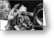 Hyper-realism Greeting Cards - Portrait of Louie Armstrong Greeting Card by Carrie Jackson