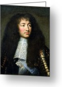 Cravat Greeting Cards - Portrait of Louis XIV Greeting Card by Charles Le Brun