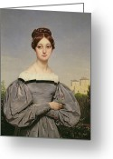 Hair Bun Greeting Cards - Portrait of Louise Vernet Greeting Card by Emile Jean Horace Vernet