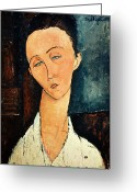 Modigliani Painting Greeting Cards - Portrait of Lunia Czechowska Greeting Card by Amedeo Modigliani