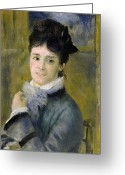 Sat Greeting Cards - Portrait of Madame Claude Monet Greeting Card by Renoir