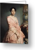 Standing Painting Greeting Cards - Portrait of Madame F Greeting Card by Edouard Louis Dubufe