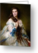 Brunette Greeting Cards - Portrait of Madame Rimsky Korsakov Greeting Card by Franz Xaver Winterhalter