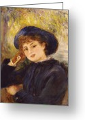 Pierre Renoir Greeting Cards - Portrait of Mademoiselle Demarsy Greeting Card by Pierre Auguste Renoir