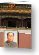 Chairman Mao Zedong Greeting Cards - Portrait of Mao Zedong Greeting Card by Sam Bloomberg-rissman