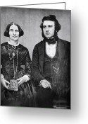 Daguerreotype Greeting Cards - PORTRAIT of MARRIED COUPLE c. 1845 Greeting Card by Daniel Hagerman