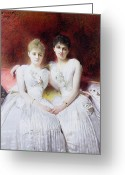 Holding Flower Greeting Cards - Portrait of Marthe and Terese Galoppe Greeting Card by Leon Joseph Bonnat