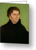 Protestant Greeting Cards - Portrait of Martin Luther Greeting Card by Lucas Cranach the Elder