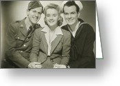 20-24 Years Greeting Cards - Portrait Of Mature Woman With Soldier And Sailor, Smiling Greeting Card by George Marks