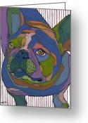 Arts Greeting Cards - Portrait of Pop Secret the French Bulldog Greeting Card by David  Hearn