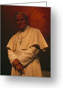 Attire Greeting Cards - Portrait Of Pope John Paul Ii Greeting Card by James L. Stanfield