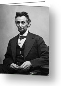 Black And White Greeting Cards - Portrait of President Abraham Lincoln Greeting Card by International  Images