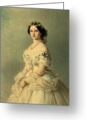 Necklace Greeting Cards - Portrait of Princess of Baden Greeting Card by Franz Xaver Winterhalter