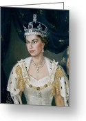 British Royalty Painting Greeting Cards - Portrait of Queen Elizabeth II wearing coronation robes and the Imperial State Crown Greeting Card by Lydia de Burgh