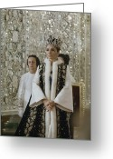 Headgear Greeting Cards - Portrait Of Queen Farah Pahlavi Dressed Greeting Card by James L. Stanfield