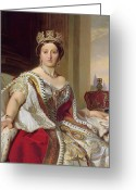 British Royalty Painting Greeting Cards - Portrait of Queen Victoria Greeting Card by Franz Xavier Winterhalter