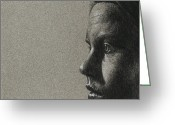 Grey Drawings Greeting Cards - Portrait of S Greeting Card by David Kleinsasser
