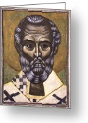 Icon Byzantine Greeting Cards - Portrait of Saint Nicholas Greeting Card by Iconos Art