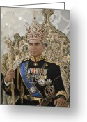 Aristocracy And Royalty Greeting Cards - Portrait Of The Shah Of Iran Taken Greeting Card by James L. Stanfield