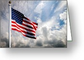 Spangled Greeting Cards - Portrait of The United States of America Flag Greeting Card by Bob Orsillo