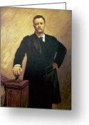 1856 Greeting Cards - Portrait of Theodore Roosevelt Greeting Card by John Singer Sargent