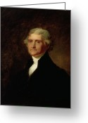 Half Length Greeting Cards - Portrait of Thomas Jefferson Greeting Card by Asher Brown Durand