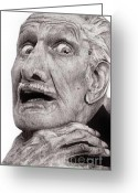 Hyper Realism Greeting Cards - Portrait of Vincent Price Greeting Card by Carrie Jackson