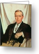 Sat Painting Greeting Cards - Portrait of Woodrow Wilson Greeting Card by Sir William Orpen