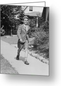 12-13 Years Greeting Cards - Portrait Of Young Boy (12-13) Walking Along Sidewalk Greeting Card by George Marks