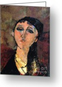 Modigliani Painting Greeting Cards - Portrait of Young Girl  Louise Greeting Card by Pg Reproductions