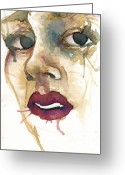 Watercolor Greeting Cards - Portrait One Gia Greeting Card by Mark M  Mellon