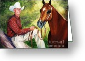 Quarter Horse Greeting Cards - Portrait Shane and Quarter Horse Portrait Painting Greeting Card by Kim Corpany