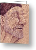 Skullcap Greeting Cards - Portrait VIII Greeting Card by Trissa Tilson