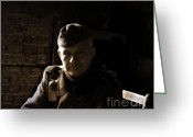 Uniforms Greeting Cards - Portraits of men at war Greeting Card by Steven  Digman