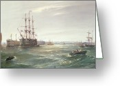 The Hulk Greeting Cards - Portsmouth Harbour with HMS Victory Greeting Card by Robert Ernest Roe