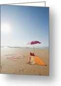 Beach Towel Photo Greeting Cards - Portugal, Algarve, Sagres, Sunshade And Blanket On Beach Greeting Card by Westend61