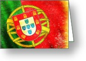 Retro Pastels Greeting Cards - Portugal Flag  Greeting Card by Setsiri Silapasuwanchai