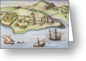 Trading Greeting Cards - Portuguese Fort: Africa Greeting Card by Granger