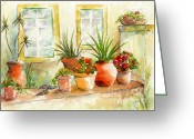 Terra Greeting Cards - Portuguese Planters Greeting Card by Pat Katz