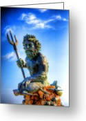 Greek Sculpture Digital Art Greeting Cards - Poseidon Greeting Card by Dan Stone