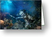 Rage Greeting Cards - Poseidon Greeting Card by Marc Huebner