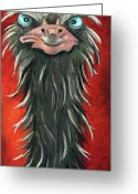 Emu Greeting Cards - Poser 3 Greeting Card by Leah Saulnier The Painting Maniac