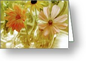 Peachy Greeting Cards - Posies Greeting Card by Bonnie Bruno